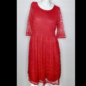 Anthropologie pretty ruby lace embroidered